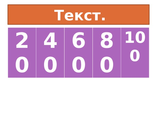 Текст. 20 40 60 80 100