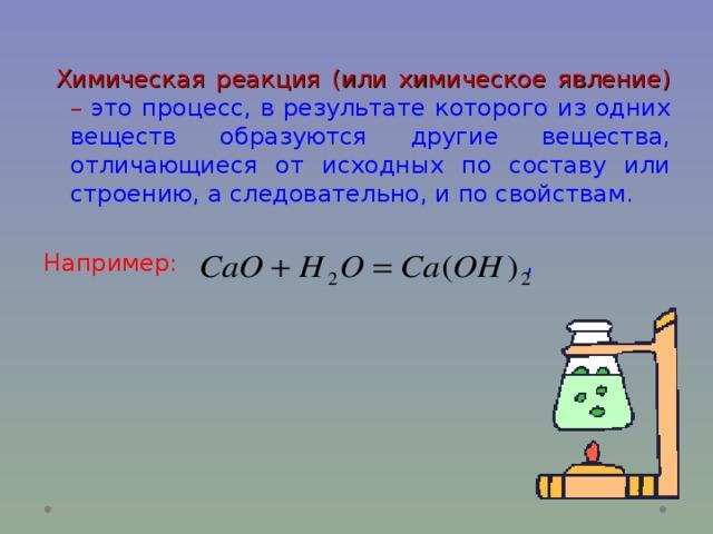 Химическая реакция (или химическое явление)  – это процесс, в результате которого из одних веществ образуются другие вещества, отличающиеся от исходных по составу или строению, а следовательно, и по свойствам. Например:    ,