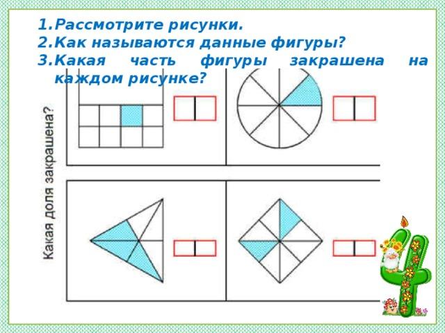 Рассмотрите рисунки. Как называются данные фигуры? Какая часть фигуры закрашена на каждом рисунке?