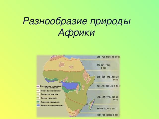 Разнообразие природы Африки       7 класс
