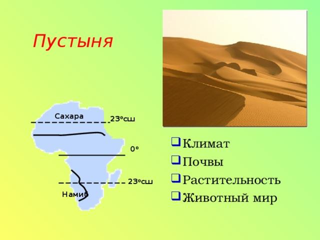 Климат Почвы Растительность Животный мир Пустыня   Сахара 23 0 сш 0 0 23 0 сш Намиб