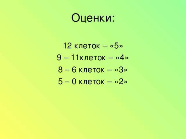 Оценки: 12 клеток – «5» 9 – 11клеток – «4» 8 – 6 клеток – «3» 5 – 0 клеток – «2»
