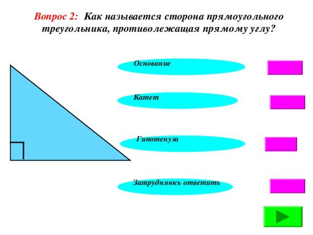 Вопрос 2: Как называется сторона прямоугольного треугольника, противолежащая прямому углу?  Основание Катет Гипотенуза Затрудняюсь ответить 4 4 4