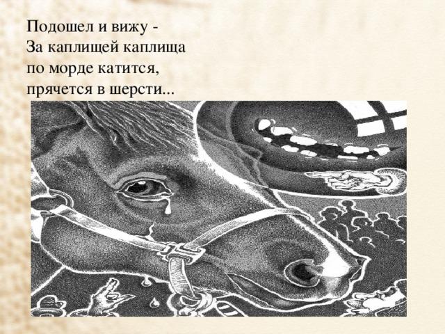 Подошел и вижу -  За каплищей каплища  по морде катится,  прячется в шерсти...