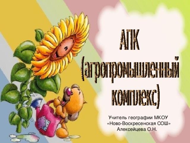 Учитель географии МКОУ  «Ново-Воскресенская СОШ» Алексейцева О.Н. «