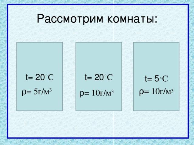t= 20 ◦ C t= 20 ◦ C t= 5 ◦ C ρ = 10г/м 3 ρ = 5 г/м 3 ρ = 10г/м 3