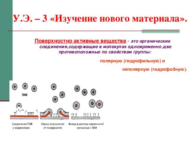 У.Э. – 3 «Изучение нового материала». Поверхностно активные вещества - это органические соединения,содержащие в молекулах одновременно две противоположные по свойствам группы:   полярную (гидрофильную) и   неполярную (гидрофобную).