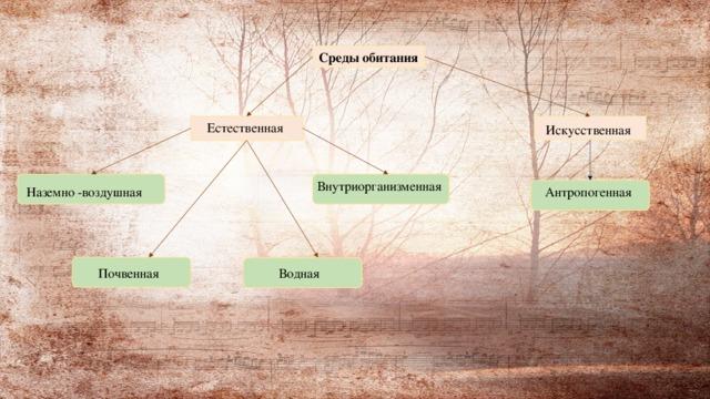 Среды обитания Естественная Искусственная Внутриорганизменная Антропогенная Наземно -воздушная Водная Почвенная