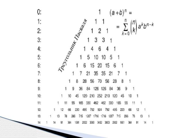 Математика треугольник паскаля реферат 9538