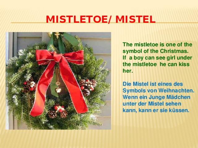 Mistletoe/ Mistel The mistletoe is one of the symbol of the Christmas. If a boy can see girl under the mistletoe he can kiss her.  Die Mistel ist eines des Symbols von Weihnachten. Wenn ein Junge Mädchen unter der Mistel sehen kann, kann er sie küssen.