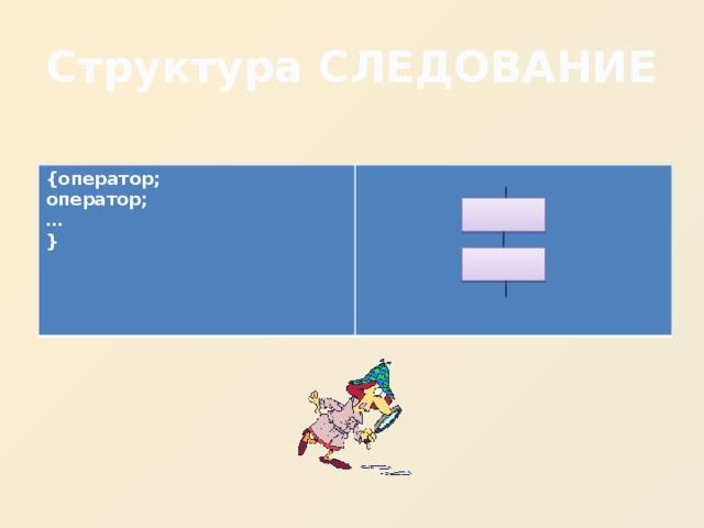 Структура СЛЕДОВАНИЕ {оператор; оператор; … }