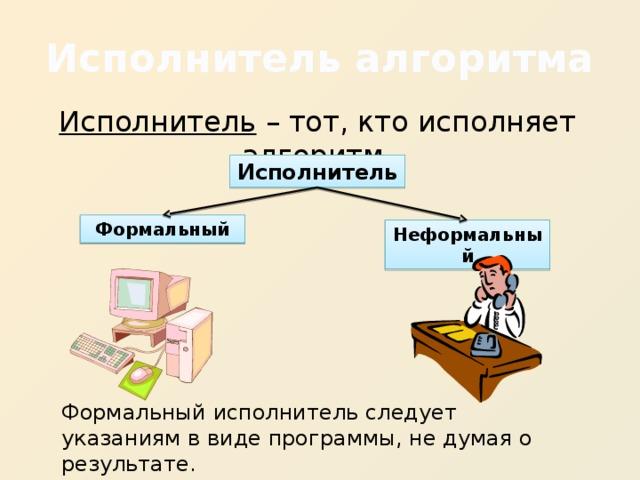Исполнитель алгоритма Исполнитель – тот, кто исполняет алгоритм. Исполнитель Формальный Неформальный Формальный исполнитель следует указаниям в виде программы, не думая о результате.