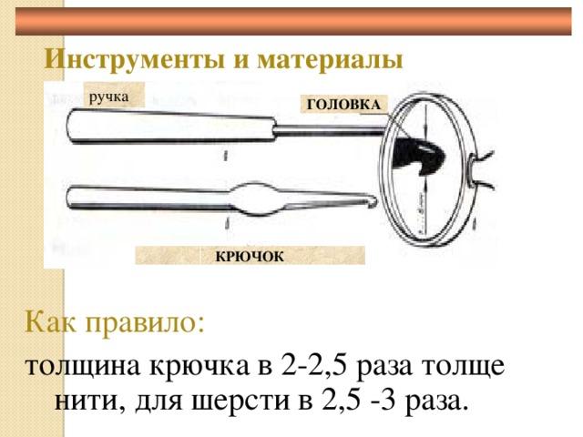 Инструменты и материалы ручка ГОЛОВКА КРЮЧОК Как правило:  толщина крючка в 2-2,5 раза толще нити, для шерсти в 2,5 -3 раза.