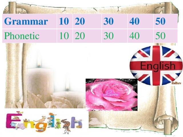 Grammar 10 Phonetic 20 10 30 20 40 30 40 50 50