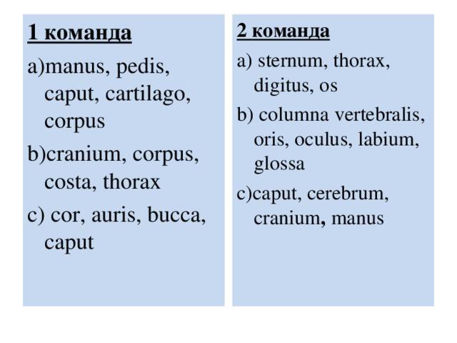 1 команда a)manus, pedis, caput, cartilago, corpus b)cranium, corpus, costa, thorax c)  cor, auris, bucca, caput 2 команда a) sternum, thorax, digitus, os b)  columna vertebralis, oris, oculus, labium, glossa c)caput, cerebrum, cranium , manus