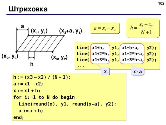Штриховка a ( x 1 , y 1 ) ( x 3 + a , y 1 ) Line( x1+h, y1, x1+h-a, y2) ; Line( x1+2*h, y1, x1+2*h-a, y2) ; Line( x1+3*h, y1, x1+3*h-a, y2) ; ... ( x 2 , y 2 ) ( x 3 , y 2 ) h x x-a h  :=  (x3  –  x2)  /  (N  +  1); a  :=  x1  –  x2; x  :=  x1  +  h; for i:=1 to N do begin  Line(round(x), y1, round(x-a), y2) ;  x  :=  x  +  h; end;