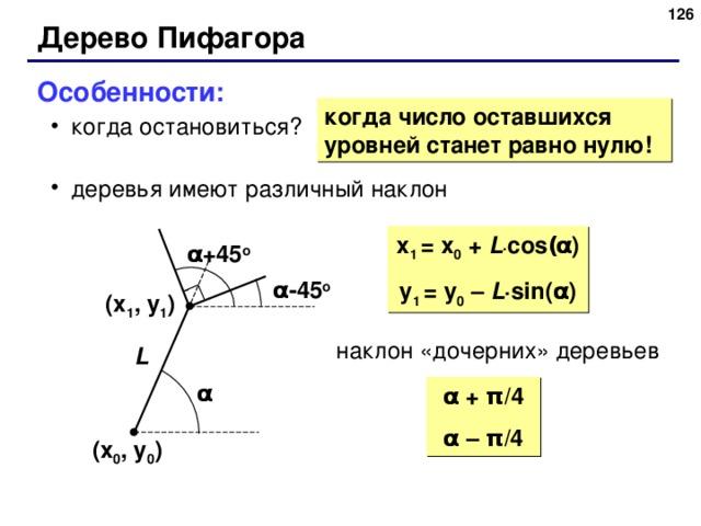 125 Дерево Пифагора Особенности: когда остановиться? деревья имеют различный наклон когда остановиться? деревья имеют различный наклон когда число оставшихся уровней станет равно нулю! x 1  = x 0 + L · cos ( α ) y 1  = y 0 – L · sin( α ) α +45 o α - 45 o ( x 1 , y 1 ) наклон  «дочерних» деревьев L α α + π /4 α  – π /4 ( x 0 , y 0 ) 125