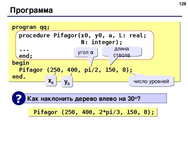 125 Программа program qq;  procedure Pifagor(x0,  y0,  a,  L: real;    N: integer);  ...  end; begin  Pifagor (250, 400, pi/2, 150, 8); end . длина ствола угол α x 0 число уровней y 0 ?  Как наклонить дерево влево на 30 o ?  Pifagor (250, 400, 2* pi/ 3 , 150, 8); 128