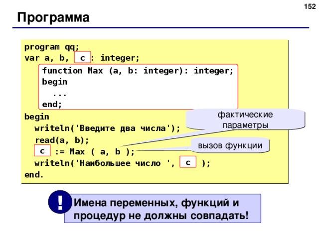 151 Программа program qq; var a, b, max: integer; begin  writeln(' Введите два числа ');  read(a, b);  max := Max ( a, b );  writeln(' Наибольшее число ' , max ); end. c function Max (a, b: integer): integer; begin  ... end; фактические параметры вызов функции c c !  Имена переменных, функций и  процедур не должны совпадать! 152