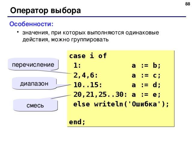 87 Оператор выбора Особенности: значения, при которых выполняются одинаковые действия, можно группировать значения, при которых выполняются одинаковые действия, можно группировать case i  of  1: a := b;  2,4 ,6 : a := c;  10..15: a := d;  20,21,25..30: a := e;  else writeln(' Ошибка ');  end; перечисление диапазон смесь 87