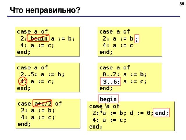 87 Что неправильно ? case  a  of  2: begin a := b;  4: a := c; end; case  a  of  2: a := b  4: a := c end; ; case  a  of  2..5: a := b;  4: a := c; end; case  a  of  0..2: a := b;  6..3: a := c; end; 3..6: begin case  a+c/2  of  2: a := b;  4: a := c; end; case  a  of  2: a := b; d := 0;  4: a := c; end; end; 89