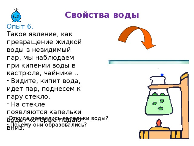 Свойства воды Опыт 6. Такое явление, как превращение жидкой воды в невидимый пар, мы наблюдаем при кипении воды в кастрюле, чайнике...