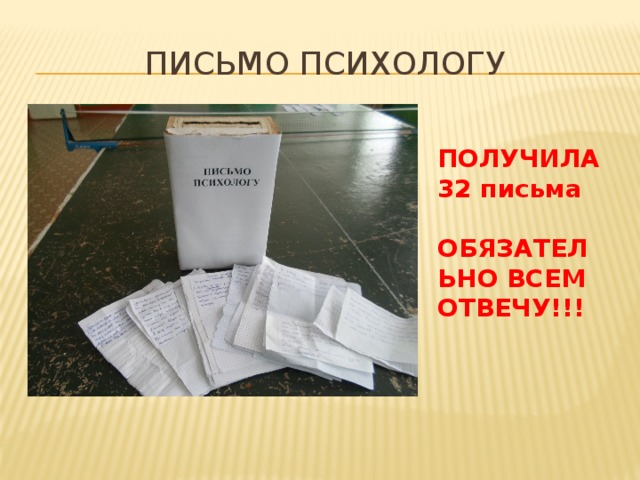 ПИСЬМО ПСИХОЛОГУ ПОЛУЧИЛА 32 письма  ОБЯЗАТЕЛЬНО ВСЕМ ОТВЕЧУ!!!