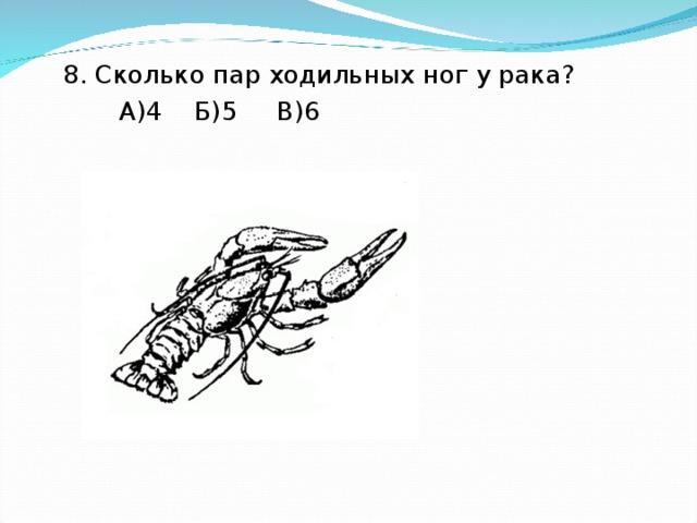 8. Сколько пар ходильных ног у рака?  А)4 Б)5 В)6