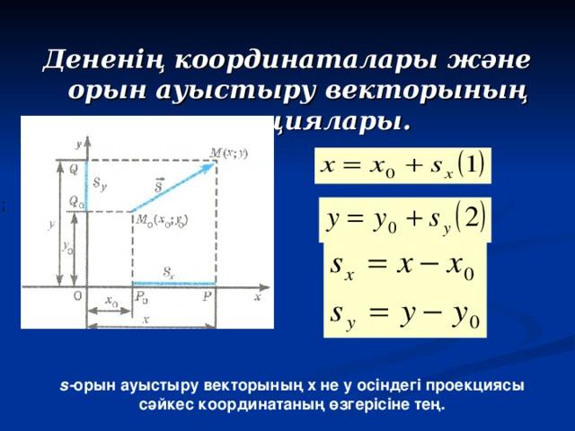 Дененің координаталары және орын ауыстыру векторының проекциялары.  s - орын ауыстыру векторының х не у осіндегі проекциясы сәйкес координатаның өзгерісіне тең.