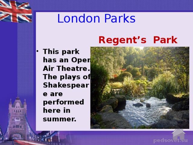 London Parks Regent's Park