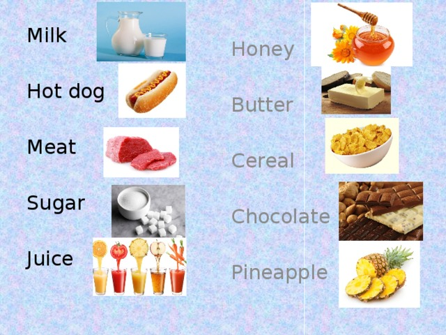 Milk Honey Hot dog Butter Cereal Meat Sugar Chocolate Juice Pineapple