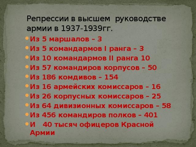 Репрессии в высшем руководстве армии в 1937-1939гг.