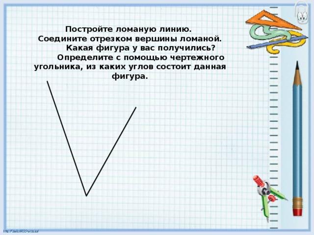 Постройте ломаную линию.  Соедините отрезком вершины ломаной.  Какая фигура у вас получились?  Определите с помощью чертежного угольника, из каких углов состоит данная фигура.