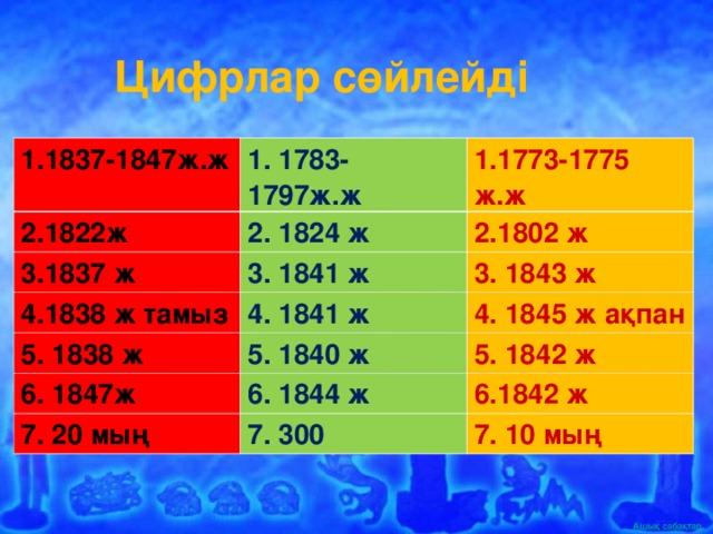 Цифрлар сөйлейді 1.1837-1847ж.ж 1. 1783-1797ж.ж 2.1822ж 1.1773-1775 ж.ж 2. 1824 ж 3.1837 ж 3. 1841 ж 2.1802 ж 4.1838 ж тамыз 5. 1838 ж 4. 1841 ж 3. 184 3 ж 5. 1840 ж 4. 1845 ж ақпан 6. 1847ж 5. 1842 ж 6. 1844 ж 7. 20 мың 7. 300 6.1842 ж 7. 10 мың