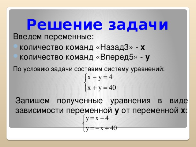 Решение задачи Введем переменные: количество команд «Назад3» - x количество команд «Вперед5» - y По условию задачи составим систему уравнений:  Запишем полученные уравнения в виде зависимости переменной y от переменной x :