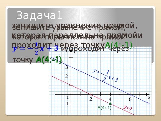 Задача1 запишите уравнение прямой, которая параллельна прямойи проходит через точку А(4;-1) .