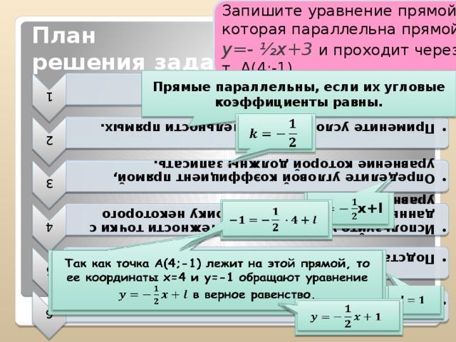 Запишите уравнение прямой, которая параллельна прямой у=- ½х+3 и проходит через т. А(4;-1) 1 Уравнение прямой имеет вид y=kx+l. Уравнение прямой имеет вид y=kx+l. 2 Примените условие параллельности прямых. Примените условие параллельности прямых. 3 Определите угловой коэффициент прямой, уравнение которой должны записать. Определите угловой коэффициент прямой, уравнение которой должны записать. 4 Используйте условие принадлежности точки с данными координатами графику некоторого уравнения. Используйте условие принадлежности точки с данными координатами графику некоторого уравнения. 5 Подставьте x=4 и y=-1 в уравнение и найти l. Подставьте x=4 и y=-1 в уравнение и найти l. 6 Запишите уравнение прямой. Запишите уравнение прямой. План  решения задачи: Прямые параллельны, если их угловые коэффициенты равны.   x+l    Так как точка А(4;-1) лежит на этой прямой, то ее координаты х=4 и у=-1 обращают уравнение в верное равенство.
