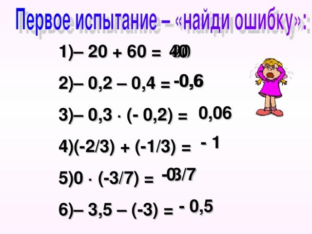 – 20 + 60 = – 0,2 – 0,4 = – 0,3 ∙ (- 0,2) = (-2/3) + (-1/3) = 0 ∙ (-3/7) = – 3,5 – (-3) =