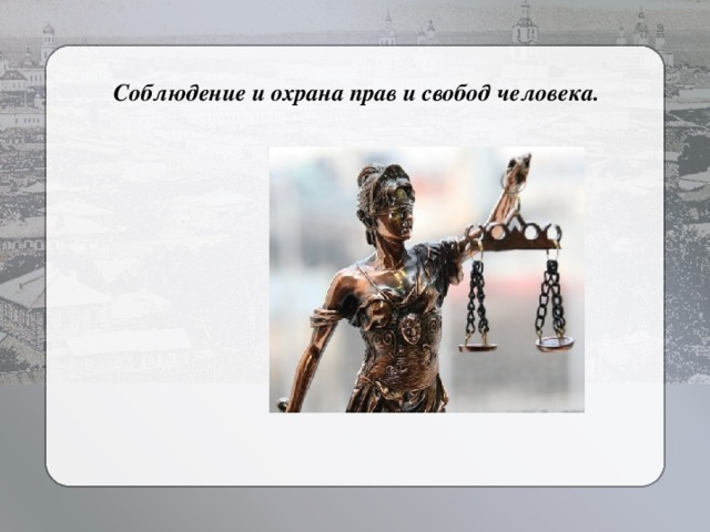 Соблюдение и охрана прав и свобод человека.