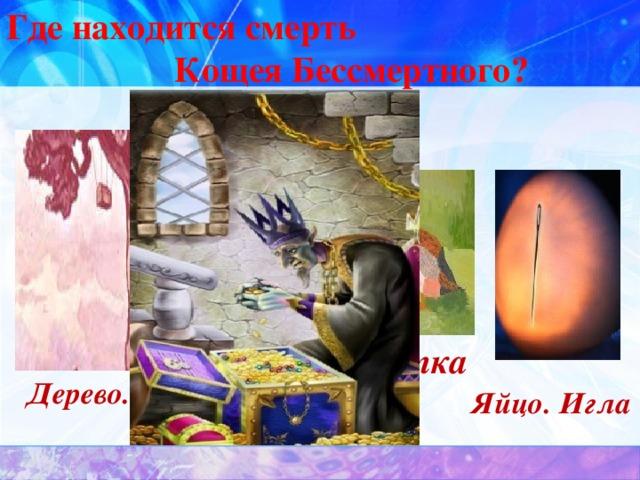 Где находится смерть  Кощея Бессмертного? Заяц Утка Дерево. Сундук  Яйцо. Игла