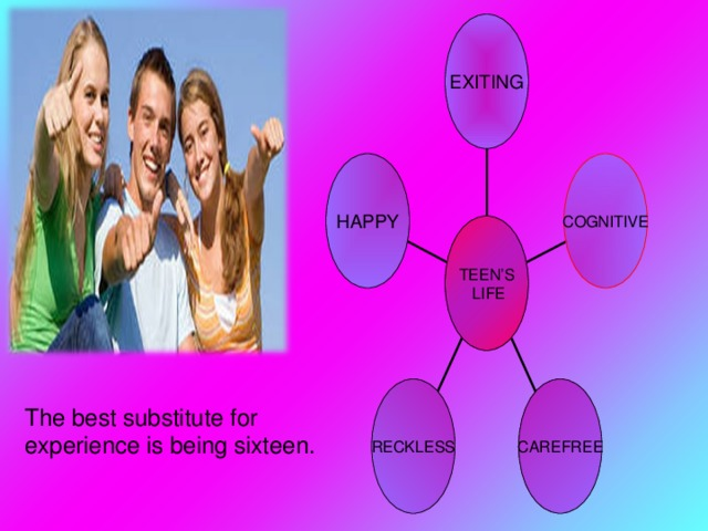 EXITING HAPPY COGNITIVE TEEN'S  LIFE RECKLESS CAREFREE The best substitute for experience is being sixteen.