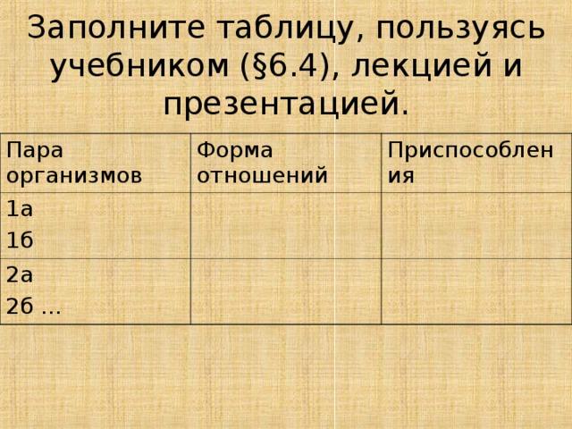 Заполните таблицу, пользуясь учебником ( § 6.4), лекцией и презентацией. Пара организмов Форма отношений 1а 1б Приспособления 2а 2б …