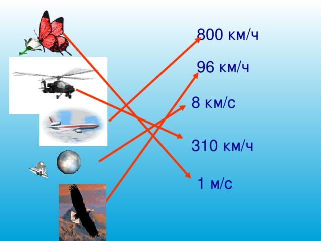 800 км/ч 96 км/ч 8 км/с 310 км/ч 1 м/с 12