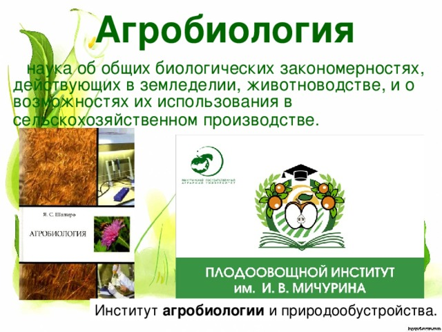 Агробиология наука об общих биологических закономерностях, действующих в земледелии, животноводстве, и о возможностях их использования в сельскохозяйственном производстве.  Институт агробиологии и природообустройства.