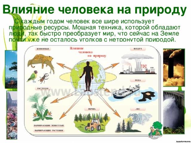 Влияние человека на природу С каждым годом человек все шире использует природные ресурсы. Мощная техника, которой обладают люди, так быстро преобразует мир, что сейчас на Земле почти уже не осталось уголков с нетронутой природой.