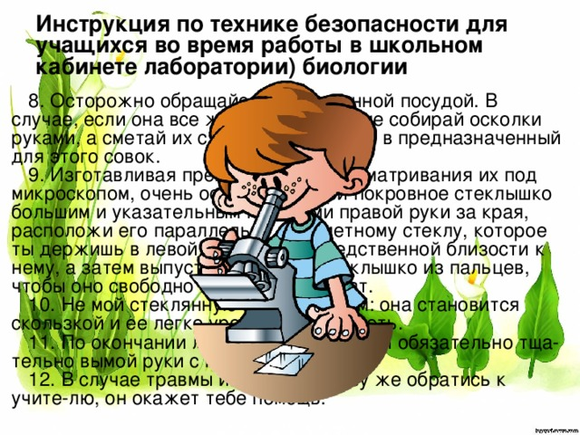 Инструкция по технике безопасности для учащихся во время работы в школьном кабинете лаборатории) биологии 8. Осторожно обращайся со стеклянной посудой. В случае, если она все же разбивается, не собирай осколки руками, а сметай их с помощью щеточки в предназначенный для этого совок. 9. Изготавливая препараты для рассматривания их под микроскопом, очень осторожно бери покровное стеклышко большим и указательным пальцами правой руки за края, расположи его параллельно предметному стеклу, которое ты держишь в левой руке, в непосредственной близости к нему, а затем выпусти покровное стеклышко из пальцев, чтобы оно свободно легло на препарат. 10. Не мой стеклянную посуду мылом: она становится скользкой и ее легко уронить и расколоть. 11. По окончании лабораторной работы обязательно тща-тельно вымой руки с мылом. 12. В случае травмы или ожога сразу же обратись к учите-лю, он окажет тебе помощь.