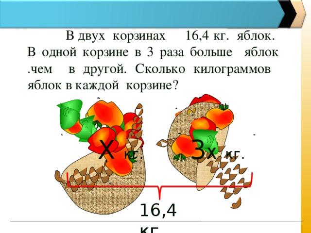 В двух корзинах 16,4 кг. яблок. В одной корзине в 3 раза больше яблок .чем в другой. Сколько килограммов яблок в каждой корзине? 3 Х  кг.  Х кг.  16,4 кг.