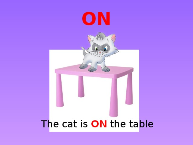 ON The cat is ON the table