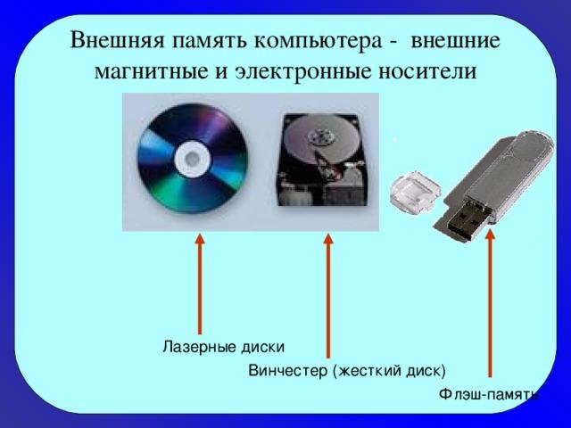 Внешняя память компьютера - внешние магнитные и электронные носители Лазерные диски Винчестер (жесткий диск) Флэш-память