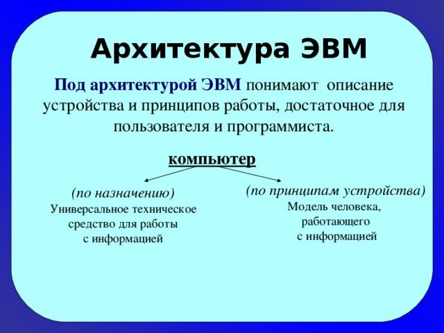 Архитектура ЭВМ Под архитектурой ЭВМ понимают описание устройства и принципов работы, достаточное для пользователя и программиста. компьютер (по принципам устройства) Модель человека, работающего  с информацией (по назначению) Универсальное техническое  средство для работы с информацией